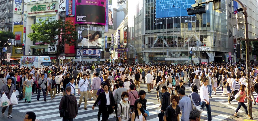The amount of congestion - both vehicles and pedestrians - on Japan
