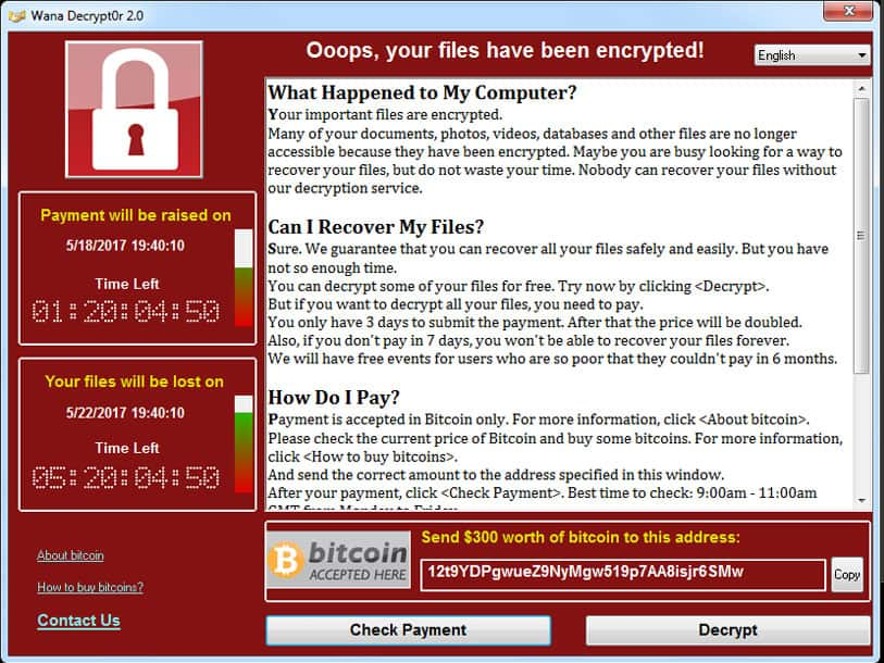 While ransomware attack screens vary in their look, they all include the same information and promises. This screenshot is of the Wannacry attack this spring. Note that it includes a promise to release the computer once a $300 ransom is paid in Bitcoin. In most cases, experts say, paying the ransom does not lead to the release of the computer.