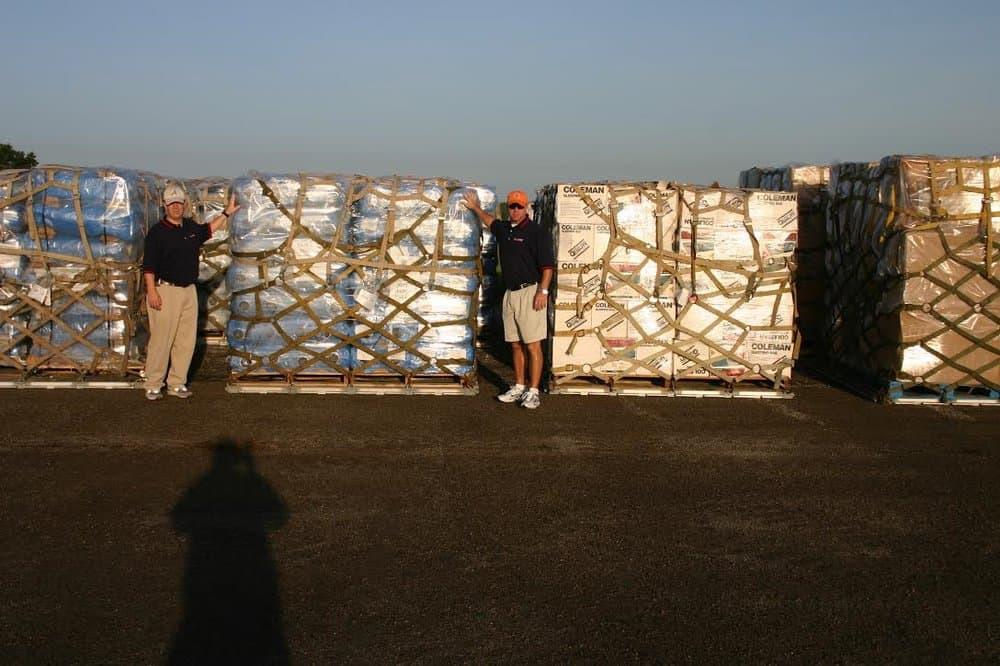 Pallets of supplies ranging from generators, bottled water, to MREs