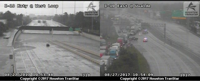 These images are from Texas traffic cameras in the Houston area as of Sunday morning. The image on the left is flooding under a bridge on I-10 in Katy, Texas, while the image on the right is traffic being diverted off I-10 due to flooding on the highway in Uvalde.