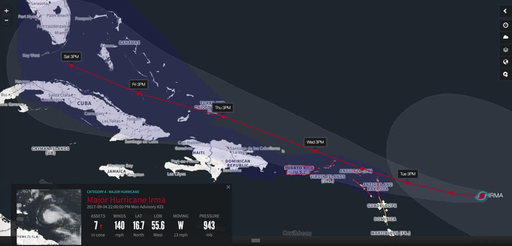 The current projected track of Hurricane Irma. ( Photo: Riskpulse )