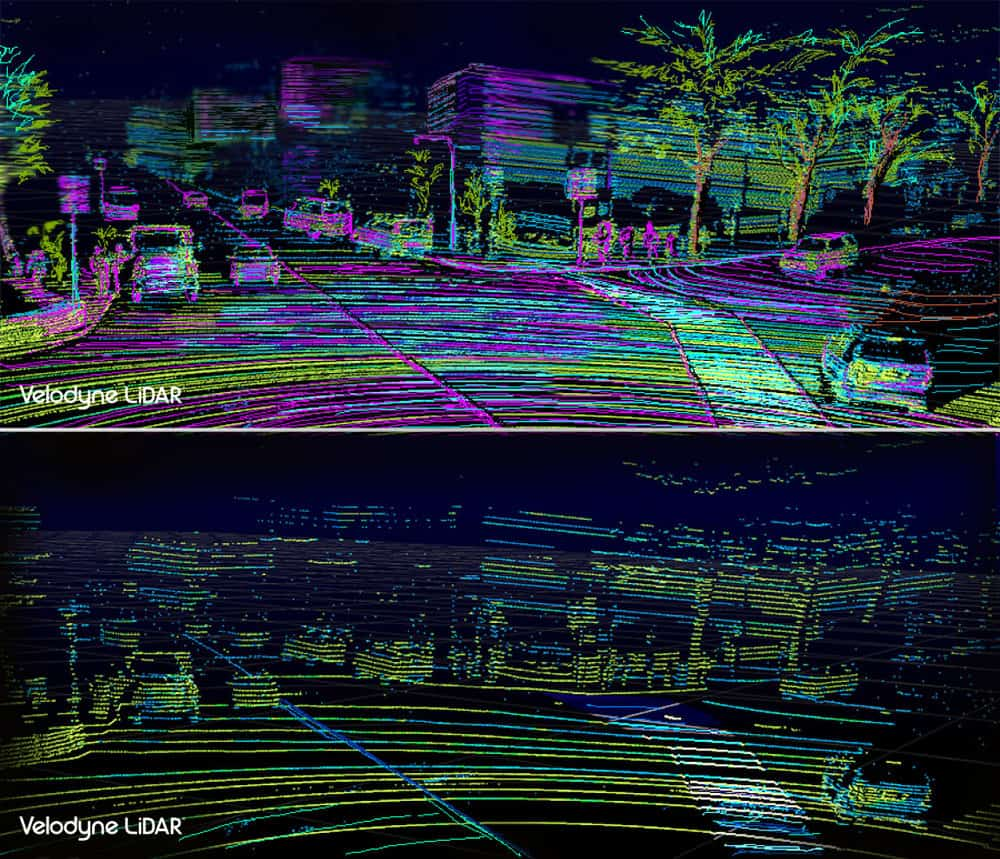 Comparison of resolution of the VLS-128 (top) and HDL-64 (bottom). Image courtesy of Velodyne LiDAR.