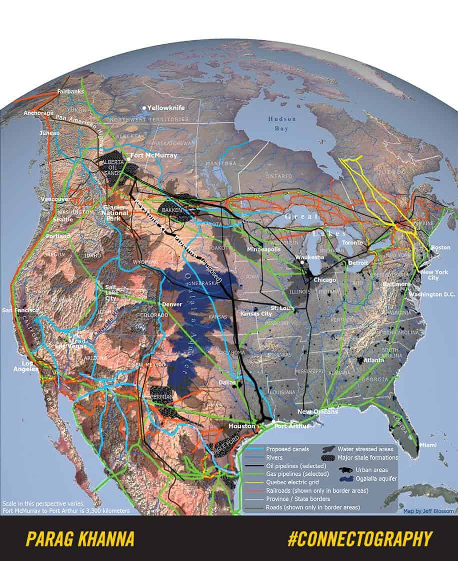 A map of North America's integrated infrastructure from Parag Khanna's  Connectography  (2016).