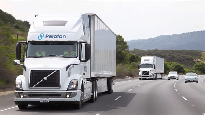 Trucks equipped with Peloton Technology