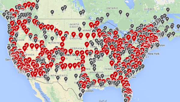 The ever-increasing density in North America alone for Tesla charging stations.
