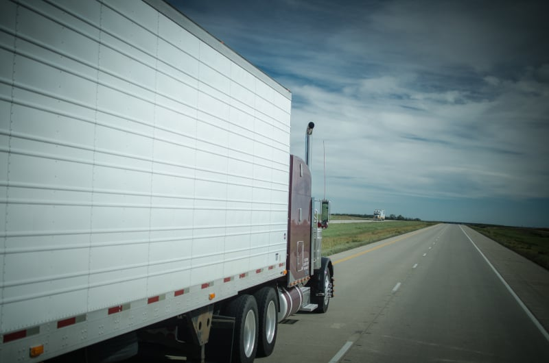 truck passing on highway