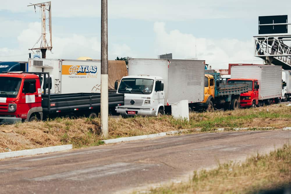 231e29f2 Brazilian truck drivers partially block the highway BR-101 during the fifth  day of their nationwide strike over rising fuel costs.