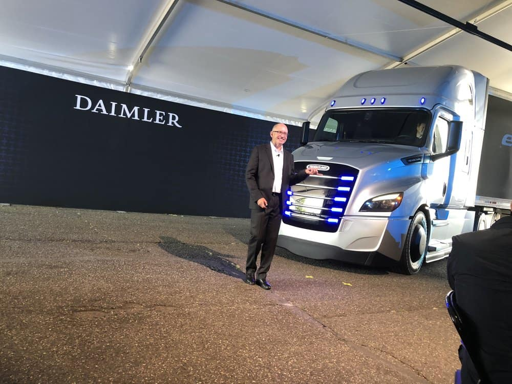 President and CEO of Daimler Trucks NA Roger Nielsen introduces the Freightliner eCascadia. ( Photo: FreightWaves )