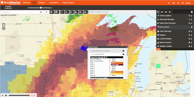 This is an example of a map that AccuWeather users would see to help them identify potential troublespots for their assets. ( Photo: AccuWeather )
