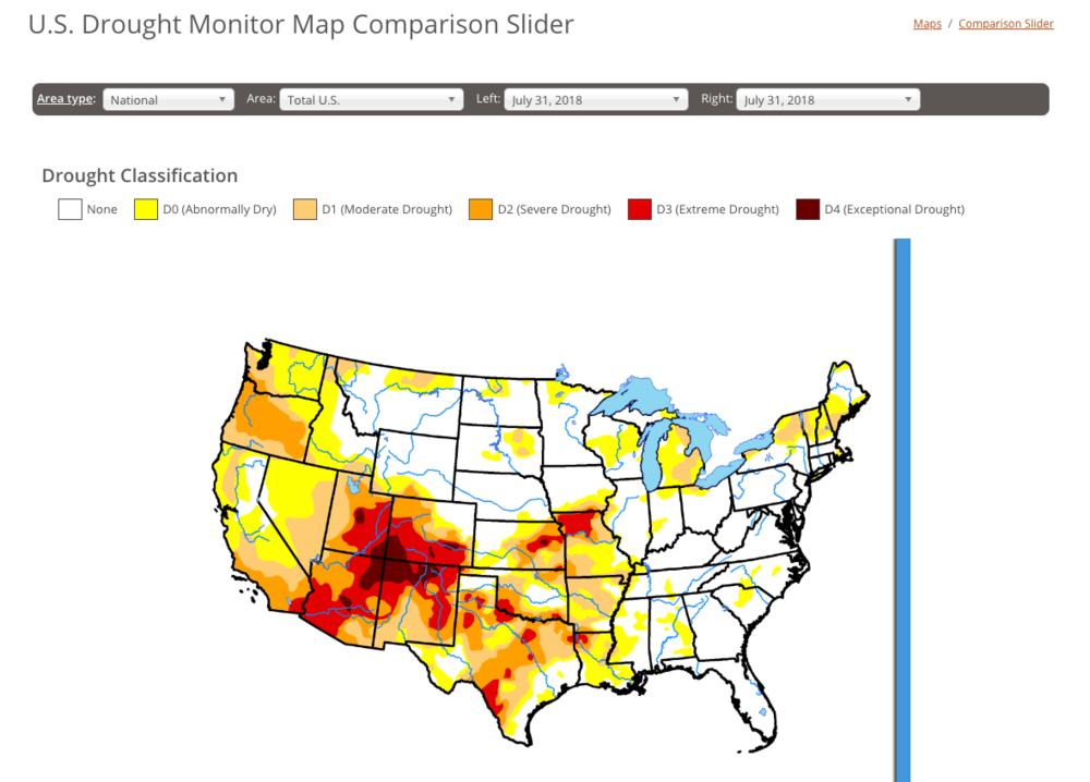 The drought monitor map indicates the scorching taking place in the west of the U.S.