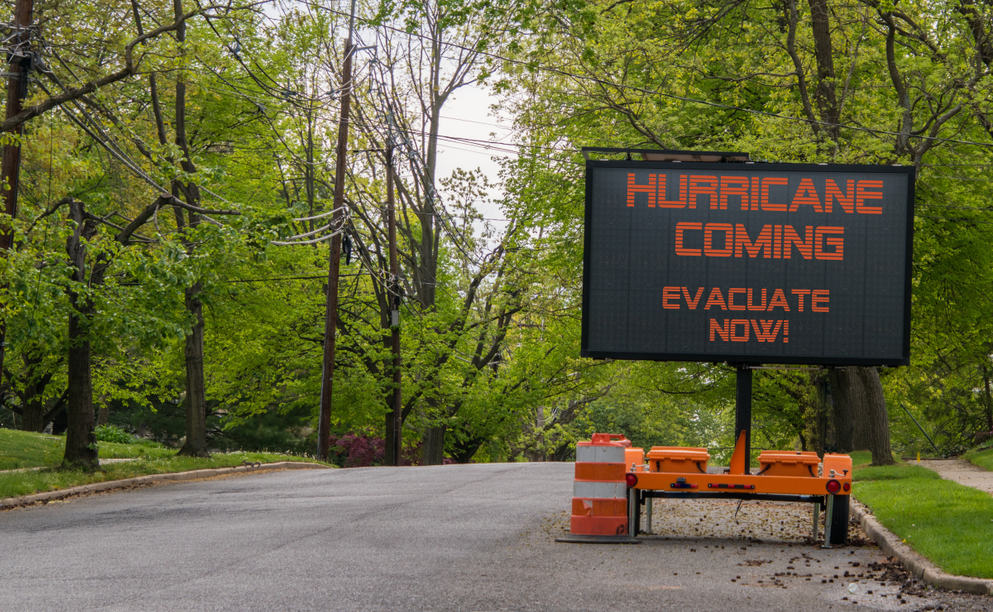Sign warning to evacuate. A warning to be heeded. (Photo: Shutterstock)