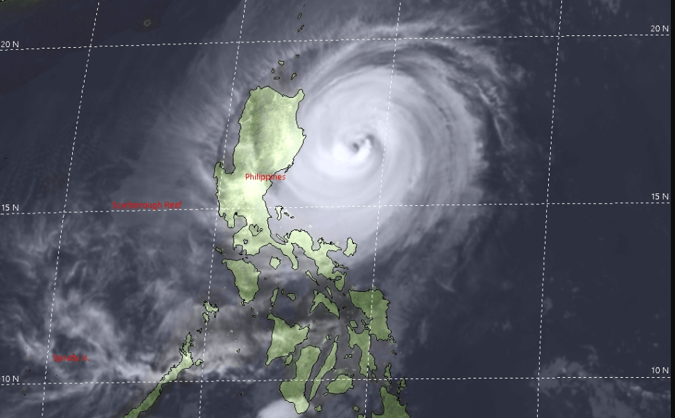 Satellite image of Typhoon Yutu at 8 p.m. local time in the Philippines on October 29, 2018.  (Photo: Joint Typhoon Warning Center)