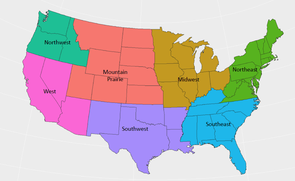 Map of U.S. freight regions . (Source: FreightWaves)