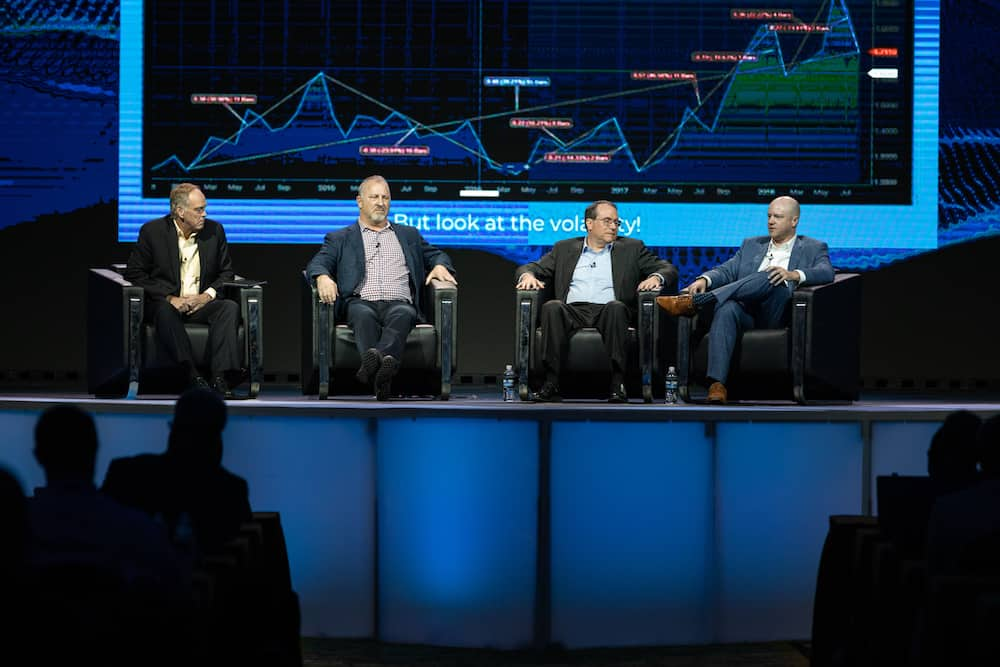 FreightWaves executive editor John Kingston, Echo CEO Doug Waggoner, Nodal Exchange chairman and CEO Paul Cusenza, and FreightWaves CEO Craig Fuller discuss Trucking Freight Futures at MarketWaves18 in Dallas, Texas. ( Photo: FreightWaves )