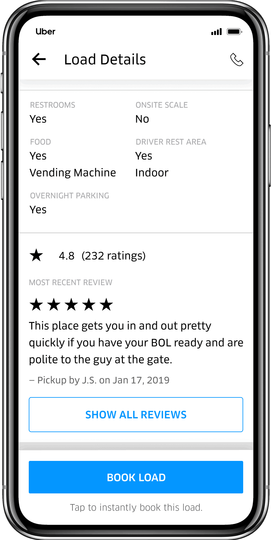 A look at a typical Facility Ratings screen within the Uber Freight app. ( Photo: Uber Freight )