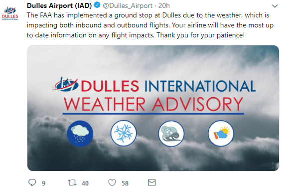 Flights grounded at Dulles International Airport on Sunday, January 13, 2019.
