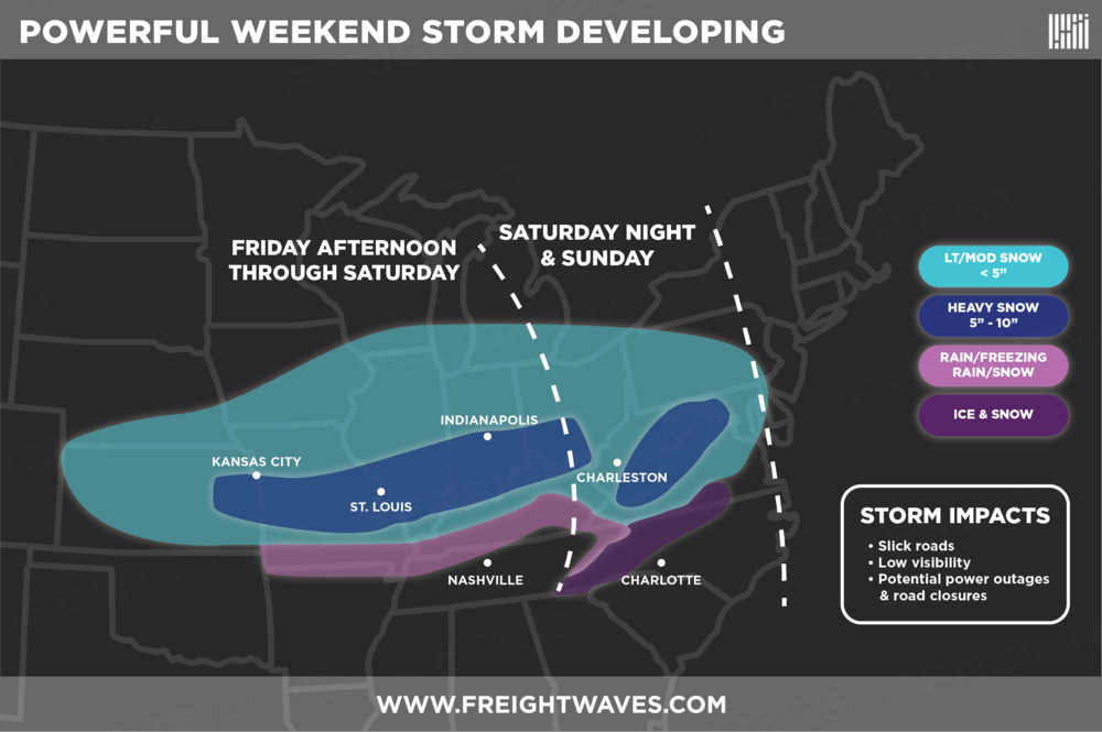 "ESTIMATES FOR WEEKEND STORM. POCKETS OF 12"" SNOW TOTALS ARE POSSIBLE IN THE DARK BLUE AREAS."