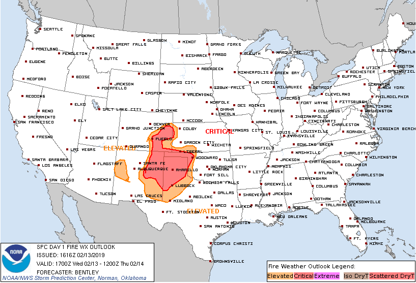Fire Weather Outlook for Wednesday, February 13, 2019.  (Source: NOAA)