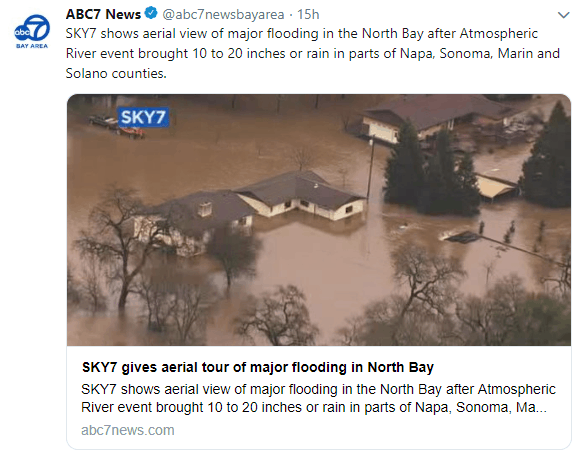 Flooding in northern California on Wednesday, February 27, 2019.
