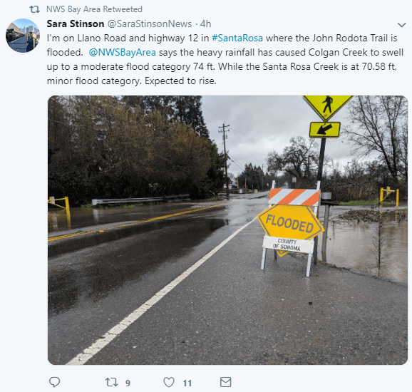 Flooding in Santa Rosa, California on February 13, 2019.