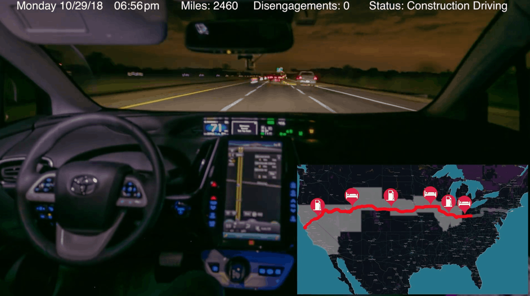 A screenshot from the video of Levandowski's 3,099 mile test of Pronto's Copilot. ( Image: Pronto )