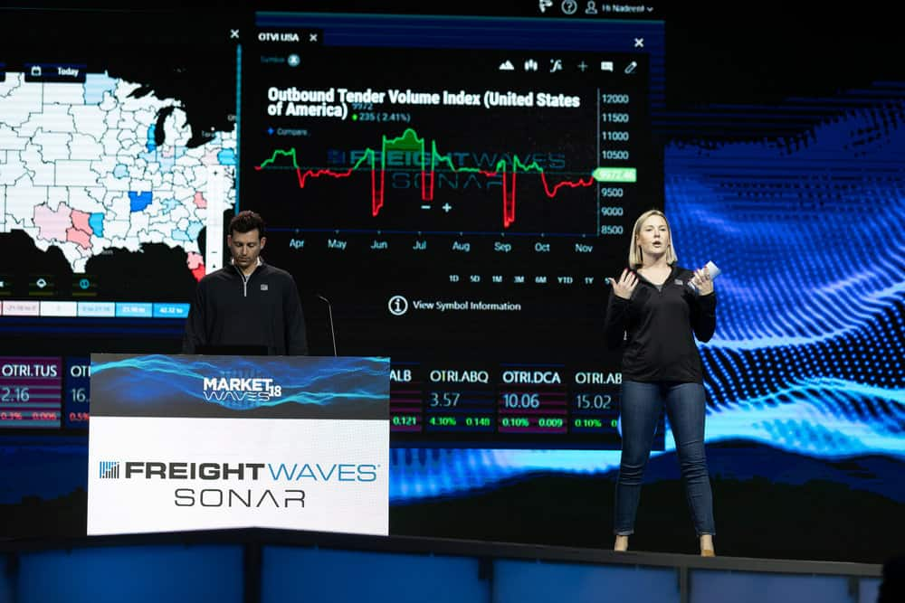 freightwaves staff present a sonar demonstration. photo credit: freightwaves/josh roden