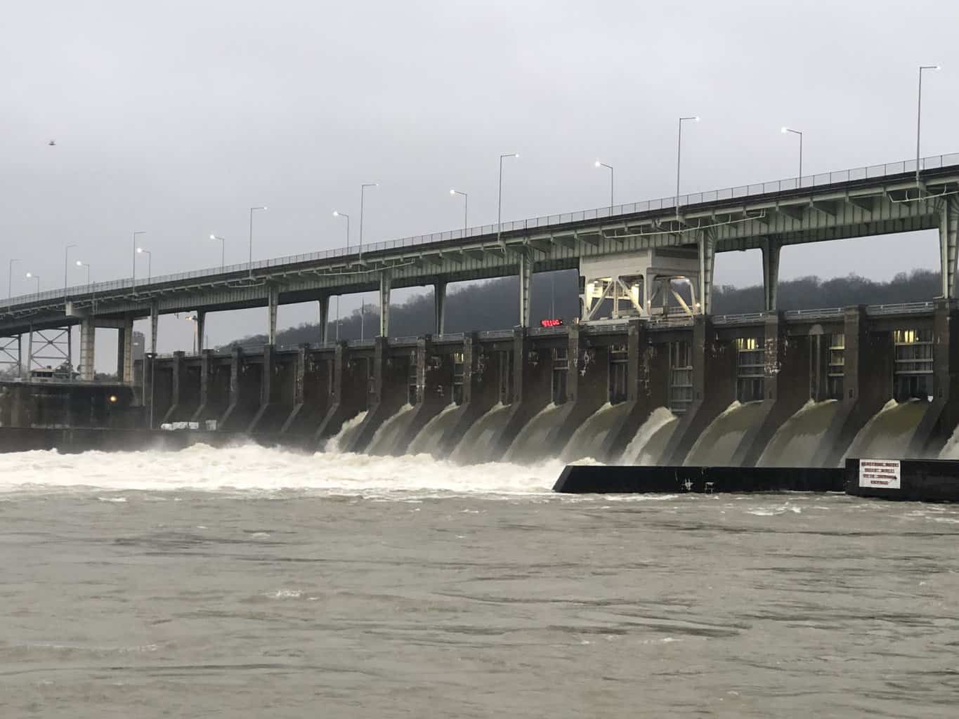 Photo of Tennessee River closed to barge traffic due to flooding and swift currents