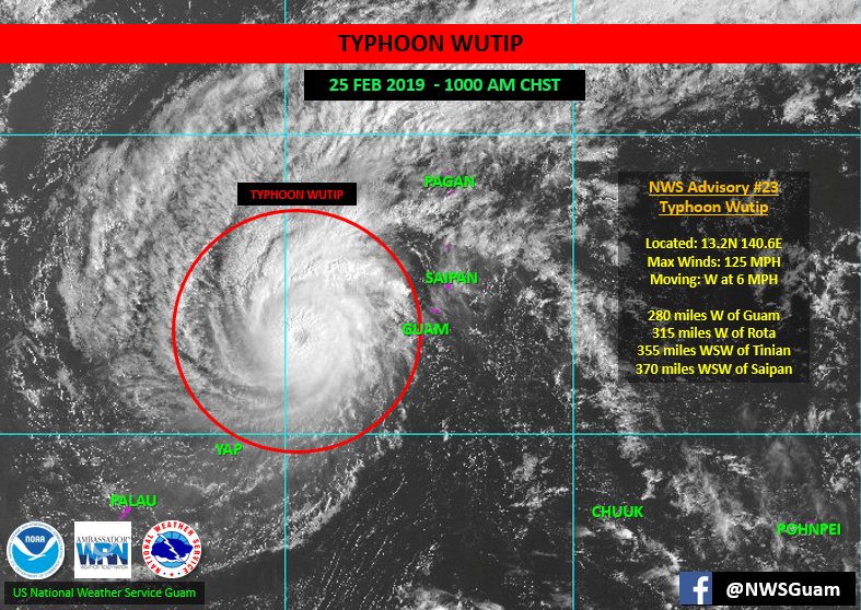 Position of Typhoon Wutip on February 25 at 10:00 a.m. Charmorro Standard Time (CHST), Eastern Standard Time (EST) plus 15 hours.