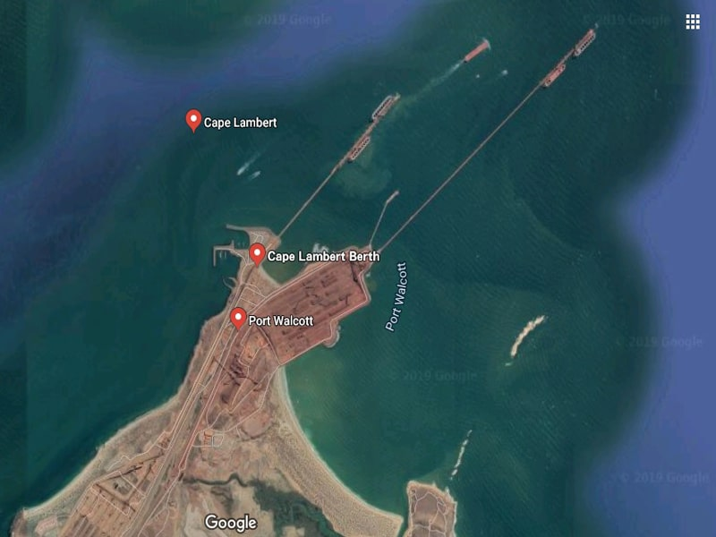 This image shows Port Walcott (also called Cape Lambert). It clearly shows a couple of iron ore stockpiles (bottom left and center) and the two jetties A & B. Note there is no protection for the jetties - no breakwaters, islands, peninsulas - nothing. Photo/graphic: Google Earth.