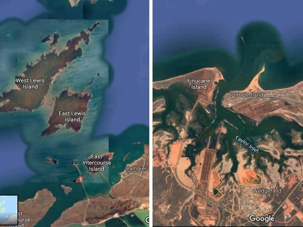 Damper (left) and Hedland (right) are much better protected from cyclones by their surrounding landscapes. Graphic: Google Earth / Jim Wilson