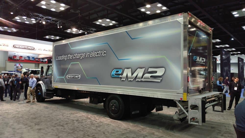 Freightliner's eM2 electric truck was on display in its booth. The truck will go on sale in 2021.