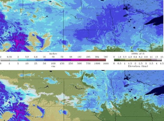 Snowpack on March 19, 2019 (top) compared to March 29, 2019 (bottom) shows a large amount of melting across the northern Great Plains.  (Source: NOAA)