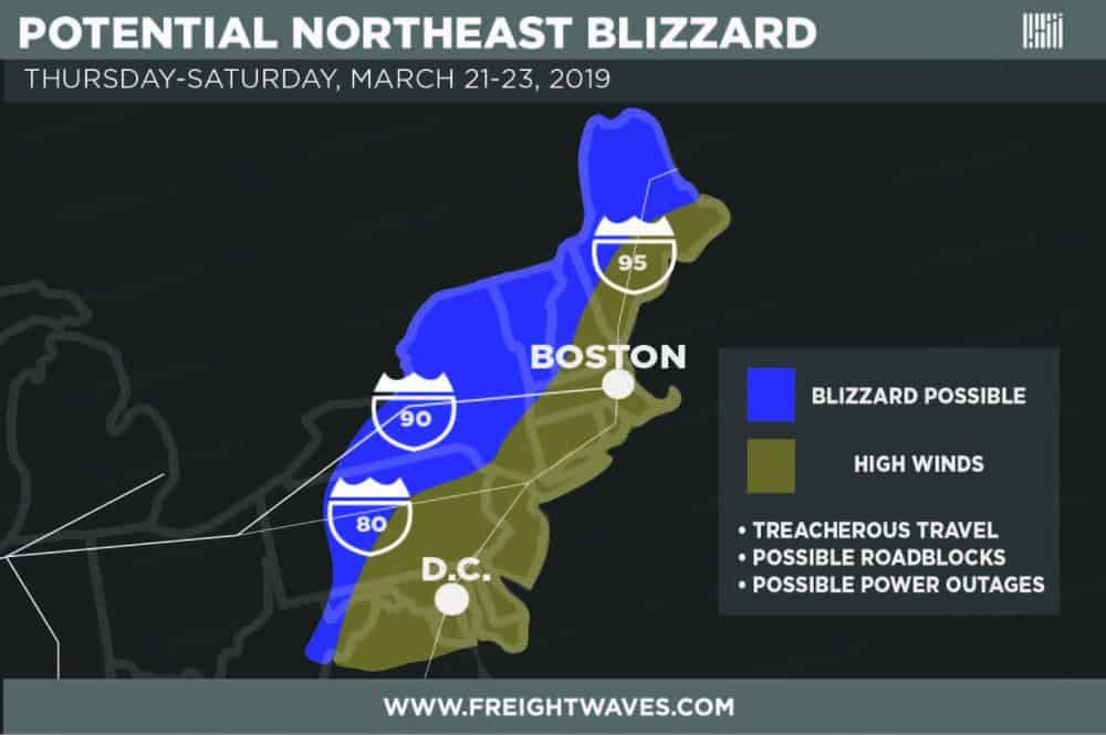 Estimated high impact areas of Northeast storm