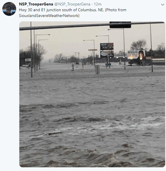 Major flooding in Columbus, Nebraska on March 14, 2019.