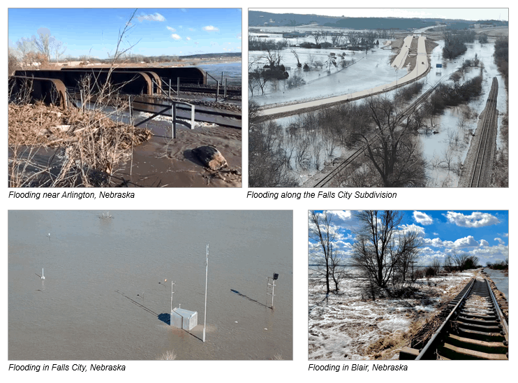 Major flooding of Union Pacific Railroad tracks in Nebraska the week of March, 11, 2019.  (Photos: Union Pacific website)