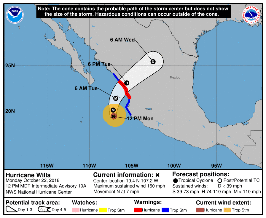 Forecast for Hurricane Willa, as of 2 p.m. EDT, October 22.  (Source: NOAA)