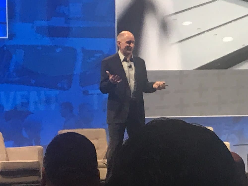 Daimler Trucks North America CEO Roger Nielsen delivering the ActExpo keynote presentation ( Image: Linda Baker )