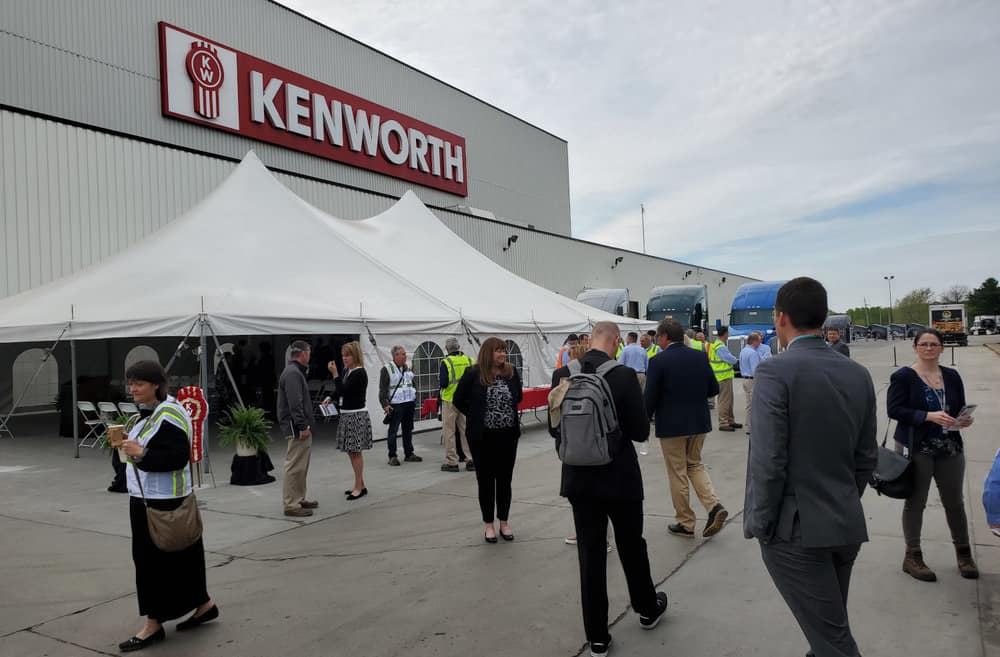 Local officials gather before a groundbreaking ceremony for a new paint facility at Kenworth's Chillicothe manufacturing plant in Ohio. Kenworth's plant has been part of the Chillicothe community for 45 years. ( Photo: Brian Straight/FreightWaves )