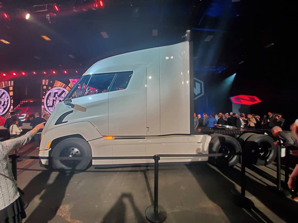 This particular model of the NIkola Two is nicknamed Storm Trooper for its distinctive white color. ( Photo: Brian Straight/FreightWaves )