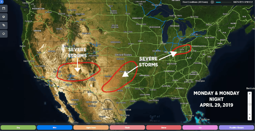 SONAR Road Conditions: April 29, 2019, 5:00 p.m. EDT. Estimated areas of severe storm potential for April 29 outlined in red.