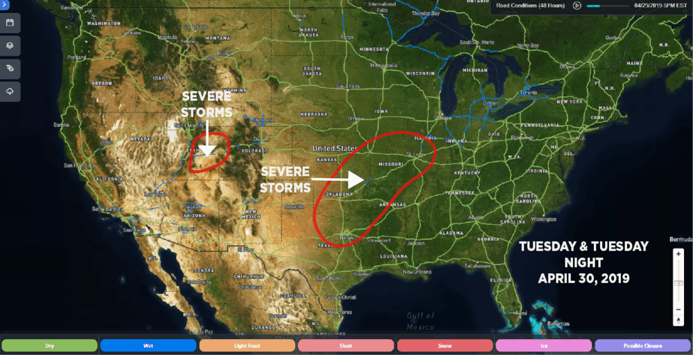 SONAR Road Conditions: April 29, 2019, 5:00 p.m. EDT. Estimated areas of severe storm potential for April 30, 2019 outlined in red.