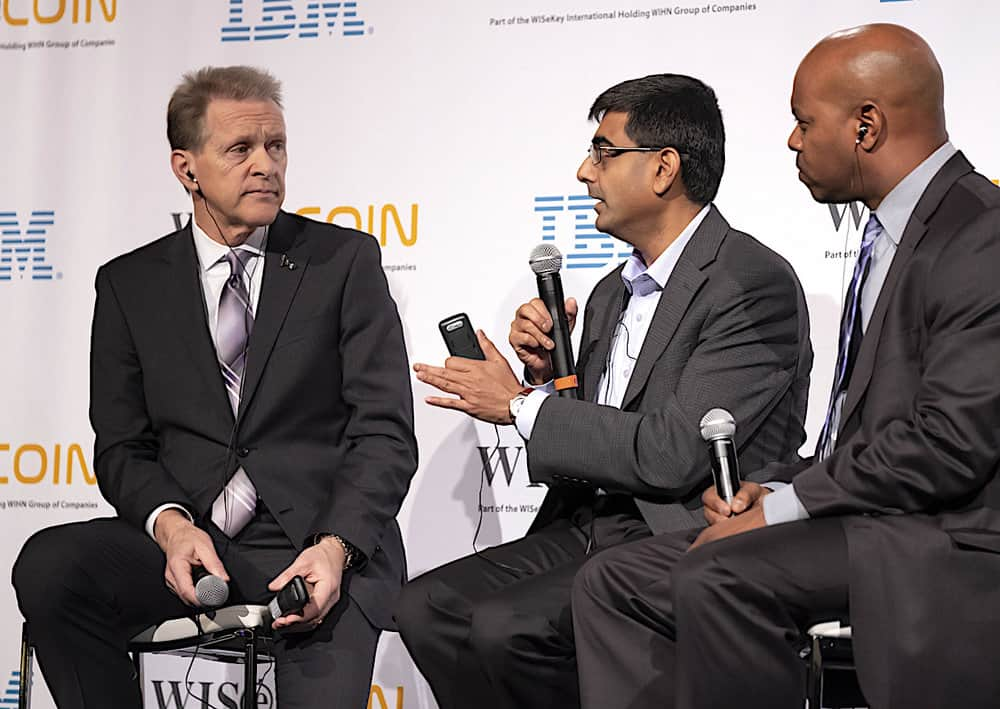 Dale Chrystie (from left) of FedEx, Mahesh Sahasranaman, of UPS, and Eugene Laney of DHL, at Blockchain Revolution Global. (Photo: Blockchain Revolution Global)