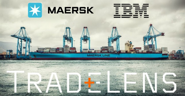 TradeLens is an open and neutral industry platform underpinned by blockchain technology.  Photo of Maersk Line ship with words Maersk, IBM and TradeLens.