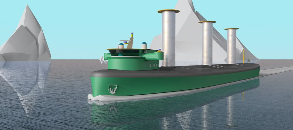 A computer generated rendition of a zero emissions ship with Flettner Rotor technology that uses wind to move the vessel. The ship will also include battery storage and hydrogen production through PEM Electrolyzer technology to generate electrical propulsion power. Credit: Zero Emissions Maritime Technology, Ltd.