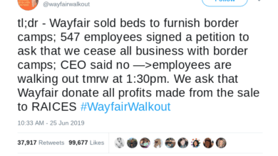 Photo of Wayfair employees protest contract to supply beds to U.S. detention facilities