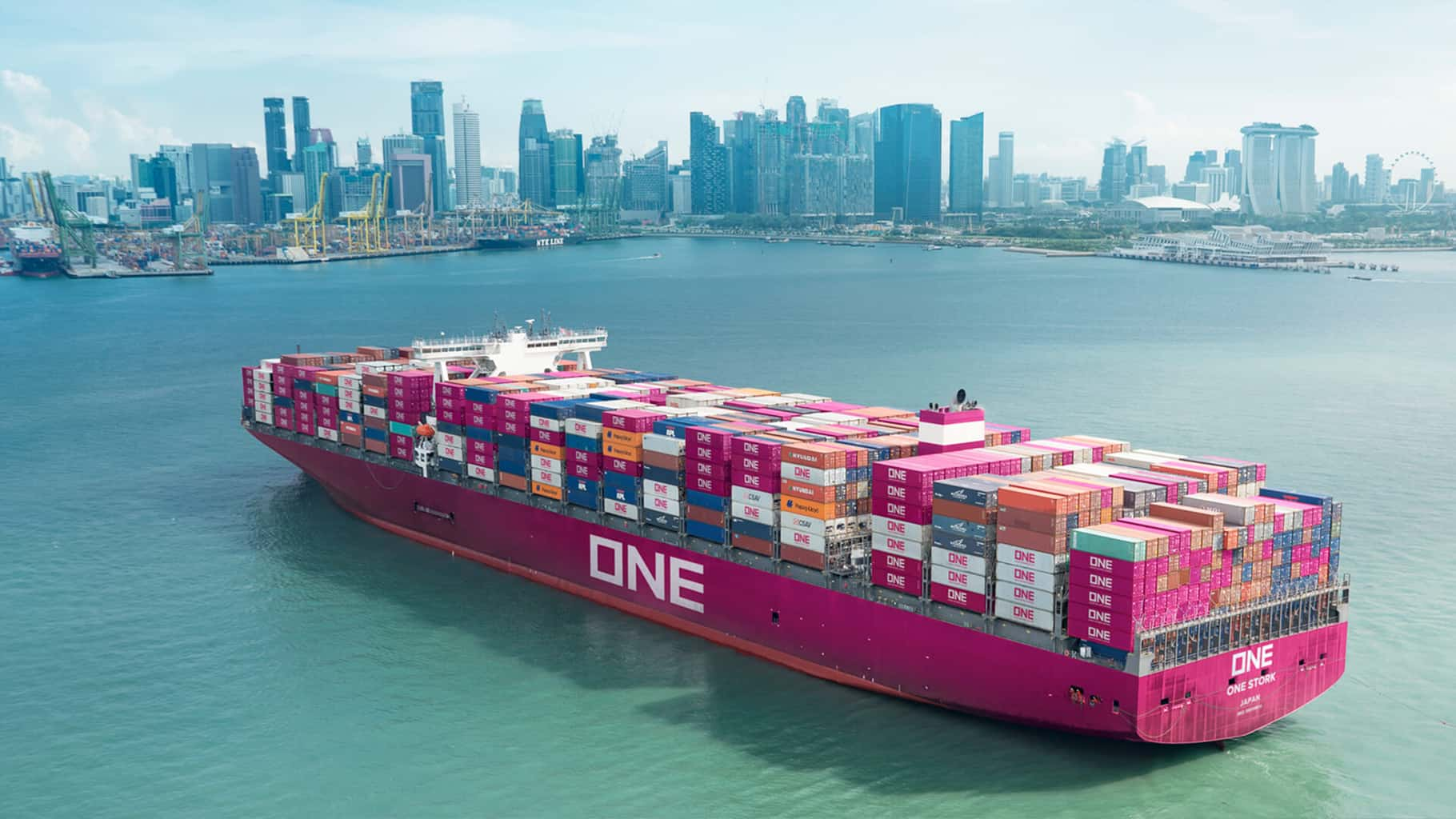 Ocean Network Express container ship at sea