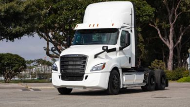Photo of First Freightliner eCascadias readied for customer testing