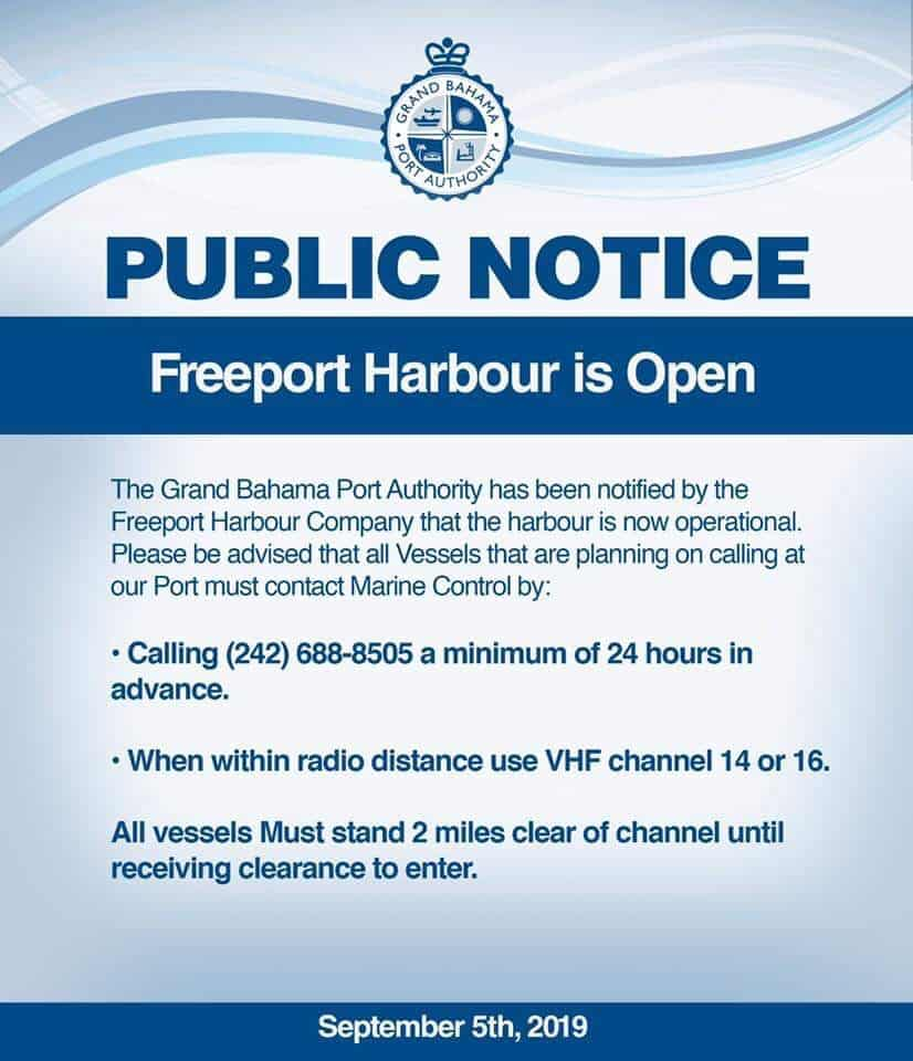 Freeport Harbor in Bahamas open for limited operations