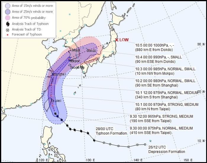 The forecast track map of Typhoon Mitag courtesy of the Korea Meteorological Administration.