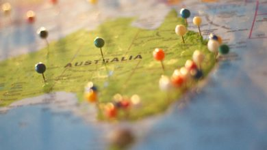 Pictured: a map of Australia with colourful pins